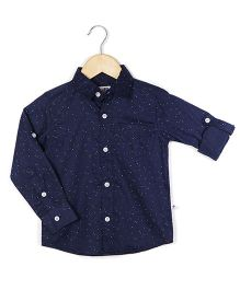Coo Coo The Nihal Full Sleeve Roll-up Formal Shirt - Navy Blue