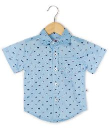Coo Coo The Parth Horse Shoe Printed Half Sleeve Shirt - Blue