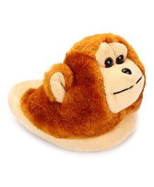 IR Fur Flip Flops Monkey Design - Brown