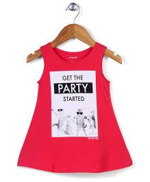 Doreme Sleeveless Frock Get the Party Started Print - Coral Red