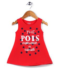 Doreme Sleeveless Frock The Pois Experience Print - Red