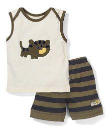 Mini Taurus Sleeveless T-Shirt And Shorts Set Kitty print - Cream And Green