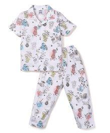 Ollypop Half Sleeves Night Suit Multi Print - White