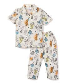 Ollypop Half Sleeves Night Suit Multi Print - Cream
