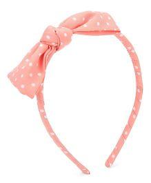 Nena Polka Dot Print Hair Band - Peach