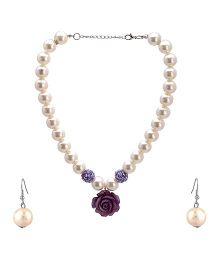 Needybee Pearls And Rose Flower Necklace And Earring Set - Purple