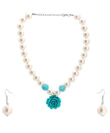 Needybee Pearls And Rose Flower Necklace And Earring Set - Blue