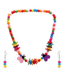 Needybee Lady Bug Wooden Bracelet Earring And Necklace Set - Multicolor