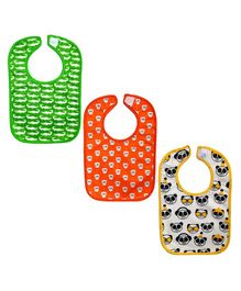 Nahshonbaby Bibs Animal Print Pack of 3 - White Orange Green