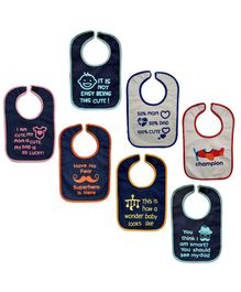 Nahshonbaby Bibs Multiprint Pack of 7 - Multicolour