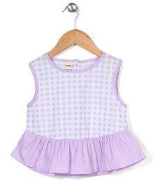 Bee Bee Checks Print Dress - Purple