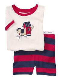 Petite Kids T-Shirt And Shorts Set Lil Puppy Print - Red And Blue