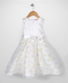 Little Coogie Flower Print Dress With Brooch - White