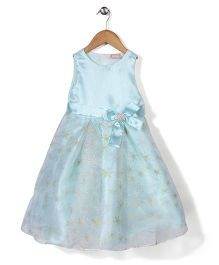 Little Coogie Flower Print Dress With Brooch - Blue
