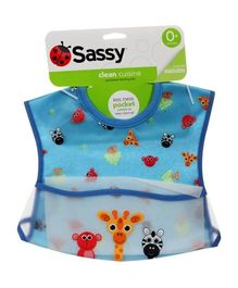 Sassy Pocket Feeding Bib Blue