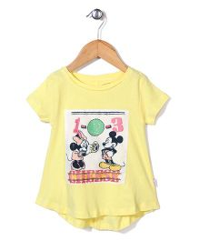 Disney Half Sleeves Top Mickey & Minnie Print - Light Yellow