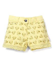 Disney Shorts Allover  Minnie Print - Yellow