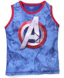 Avengers Sleeveless T-Shirt Captain America Print - Blue