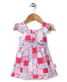 Chocopie Cap Sleeves Frock Strawberry Print - Multi Color