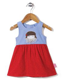 Chocopie Sleeveless Frock Dual Color - Blue And Red