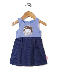 Chocopie Sleeveless Frock Dual Color - Blue And Navy