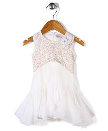 Chocopie Sleeveless Floral Designed Ruffled Party Wear Frock - Off White