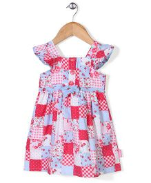 Chocopie Cap Sleeves Floral & Strawberry Print Frock - Red & Blue