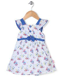 Chocopie Cap Sleeves Floral Print Frock With Bow Applique - Off White & Blue