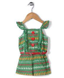 Chocopie Flutter Sleeves Jumpsuit With Belt Multi Print - Green