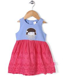 Chocopie Sleeveless Hakoba Pattern Frock With Doll Patch - Pink & Blue