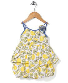 Little Kangaroos Singlet Frock Floral Applique - Yellow