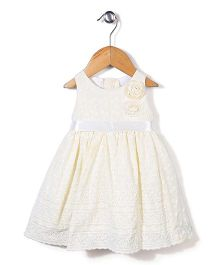 Little Kangaroos Floral Embroidered Sleeveless Frock - Cream