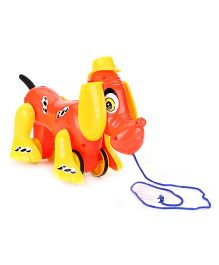 Lovely Pull Along Michael Puppy Toy- Yellow And Red