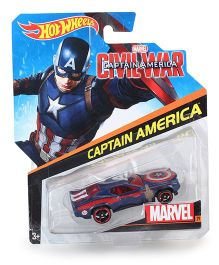 Hotwheels Captain America Car Toy - Blue And Red