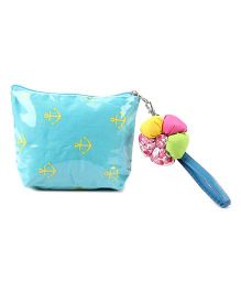 The Eed Anchor Print Purse - Aqua Blue