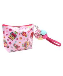 The Eed Owl Print Purse - Pink