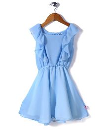 Chic Girls Sleeveless Frock - Sky Blue