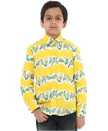 Oxolloxo Full Sleeves Bird Motifs Shirt - Yellow