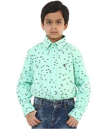Oxolloxo Full Sleeves Bird Motifs Shirt - Green
