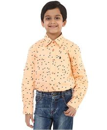 Oxolloxo Full Sleeves Bird Motifs Shirt - Peach