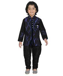 Jeet Ethnics Full Sleeves Silk Blend Kurta And Breeches Set - Blue