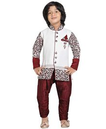 Jeet Ethnics Full Sleeves Silk Blend Kurta and Breeches Set - Off White And Maroon