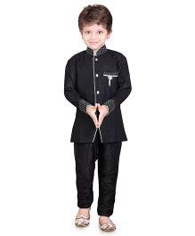 Jeet Ethnics Full Sleeves Silk Blend Kurta and Breeches Set - Black