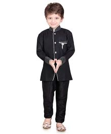 Jeet Ethnics Full Sleeves Silk Blend Kurta and Breeches Set - Black