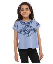 Oxolloxo Half Sleeves Embroidered Top - Blue