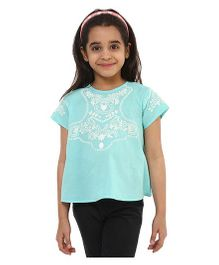 Oxolloxo Half Sleeves Embroidered Top - Green