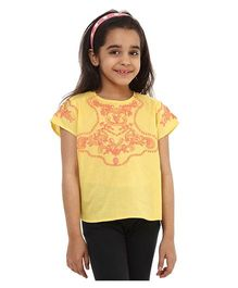Oxolloxo Half Sleeves Embroidered Top - Yellow
