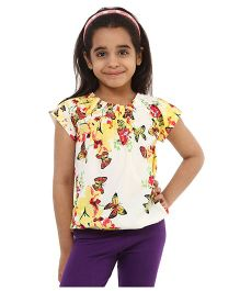 Oxolloxo Short Sleeves Butterfly Printed Top - Multicolor