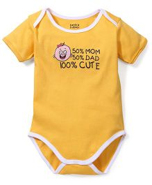 Tantra Half Sleeves Onesie 100% Cute Print - Yellow and White