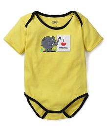 Tantra Half Sleeves Onesie I Love Attention Print - Yellow